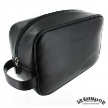 D. R. Harris Large Leather Wash Bag - Black