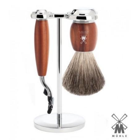 Set  da barba Mühle Mach3 legno di susino