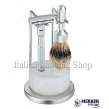 Set da barba Merkur Futur satinato con ciotola