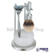 Set da barba Merkur Mach3 satinato con ciotola