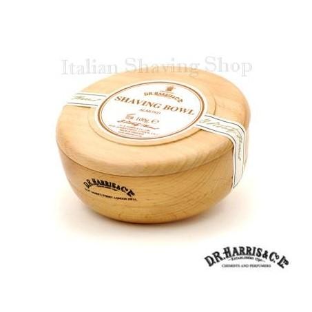 Ciotola legno D.R. Harris con sapone da barba alla Mandorla