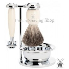 Mühle Shaving set DE resin ivory with Bowl