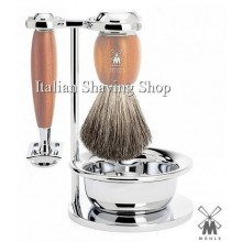 Mühle Shaving set DE plum tree wood with Bowl