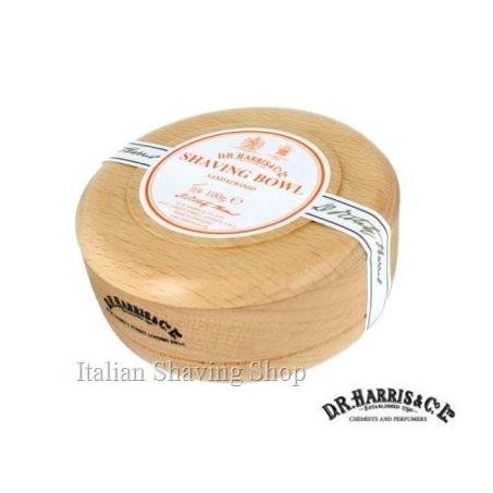 Ciotola legno D.R. Harris con sapone da barba Sandalwood